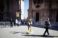 3 ottobre 2010, Palermo. La visita di papa Benedetto XVI è iniziata con la messa e l'Angelus al Foro Italico, seguita da una sosta in Cattedrale e al Palazzo Arcivescovile, per infine terminare con un incontro con i giovani in Piazza Politeama. Rientrando a Punta Raisi ha deposto dei fiori sul luogo della strage di Capaci<br /> <br /> ©2010 Gianni Cipriano<br /> cell. +1 646 465 2168 (USA)<br /> cell. +39 328 567 7923<br /> gianni@giannicipriano.com<br /> www.giannicipriano.com
