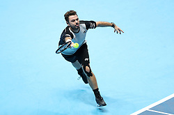 Stan Wawrinka during his game against Marin Cilic during day four of the Barclays ATP World Tour Finals at The O2, London.
