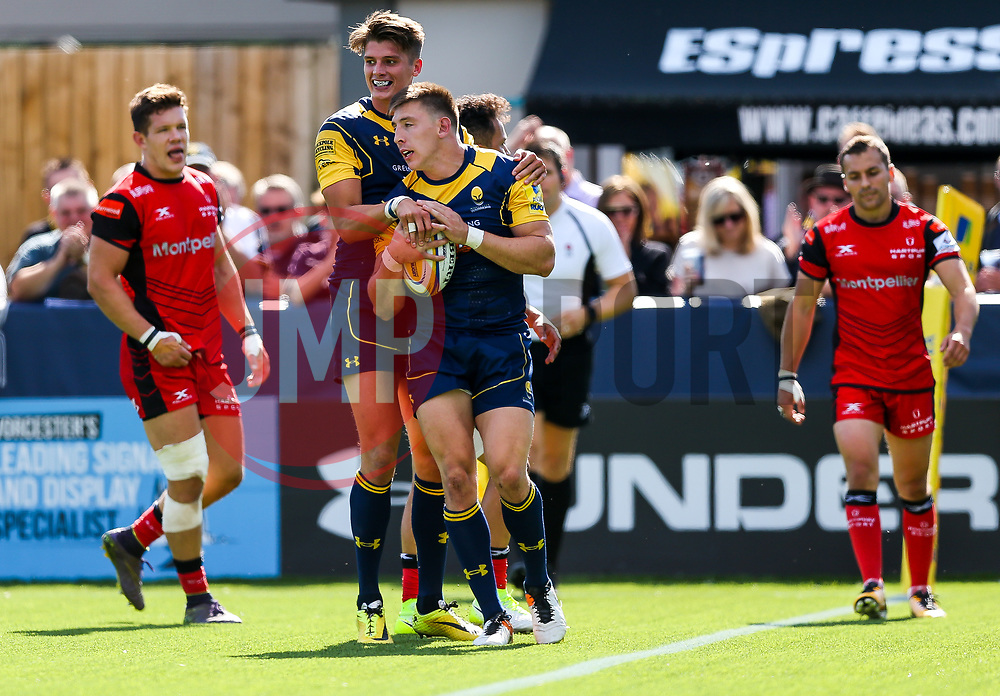 Josh Adams of Worcester Wariors celebrates scoring a try - Rogan/JMP - 12/08/2017 - RUGBY UNION - Sixways Stadium - Worcester, England - Worcester Warriors v Hartpury RFC - Pre-Season Friendly.