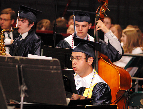 Jazz band seniors perform during the 29th annual Kettering Fairmont High School commencement at the Nutter Center in Fairborn, Thursday, May 31, 2012.