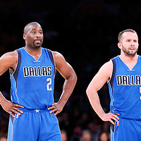 12 April 2014: Dallas Mavericks guard Raymond Felton (2) is seen next to Dallas Mavericks guard J.J. Barea (5) during the Dallas Mavericks 120-106 victory over the Los Angeles Lakers, at the Staples Center, Los Angeles, California, USA.
