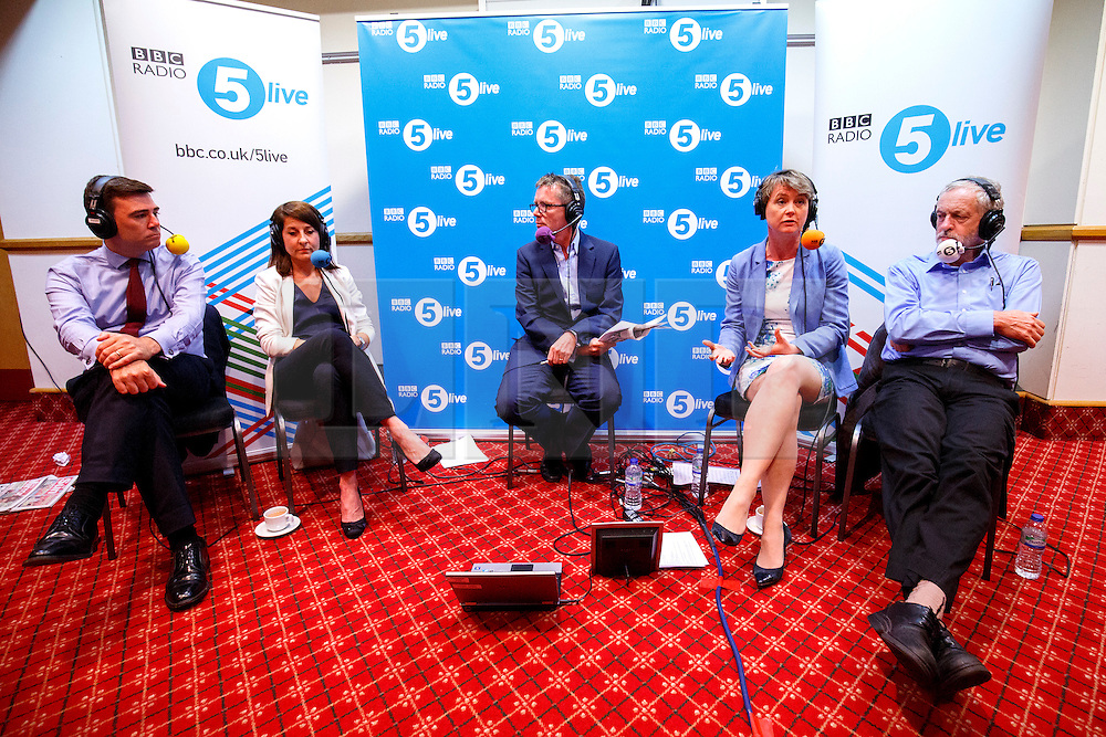 © Licensed to London News Pictures. 25/08/2015. Stevenage, UK. Labour Party leader candidates Andy Burnham, Liz Kendall, Yvette Cooper and Jeremy Corbyn taking part at a husting for Radio 5 at Stevenage Arts & Leisure Centre in Stevenage on Tuesday, 25 August 2015. Photo credit: Tolga Akmen/LNP