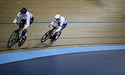 Katy Marchant of Great Britain and Stephanie Morton of Australia during the Women's Sprint quarterfinals race 1 during day two of the Tissot UCI Track Cycling World Cup at Lee Valley VeloPark, London.