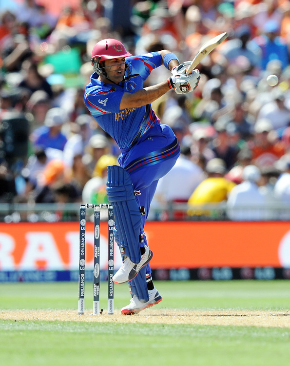 Afghanistan's Mohammd Nabi hits against  four against New Zealand in the ICC Cricket World Cup at McLean Park, Napier, New Zealand, Sunday, March 08, 2015. Credit:SNPA / Ross Setford
