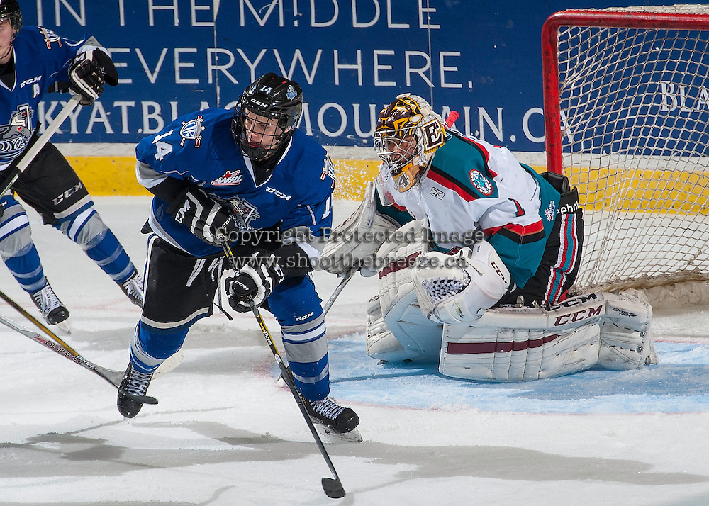 KELOWNA, CANADA - SEPTEMBER 3: Eric Florchuk #14 of Victoria Royals looks for the pass in front of the net of James Porter #1 of Kelowna Rockets on September 3, 2016 at Prospera Place in Kelowna, British Columbia, Canada.  (Photo by Marissa Baecker/Shoot the Breeze)  *** Local Caption *** James Porter; Eric Florchuk;
