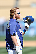 LOS ANGELES, CA - APRIL 6:  Justin Turner #10 of the Los Angeles Dodgers holds his batting helmet covered with pine tar during batting practice before the game against the San Francisco Giants at Dodger Stadium on Sunday, April 6, 2014 in Los Angeles, California. The Dodgers won the game 6-2. (Photo by Paul Spinelli/MLB Photos via Getty Images) *** Local Caption *** Justin Turner