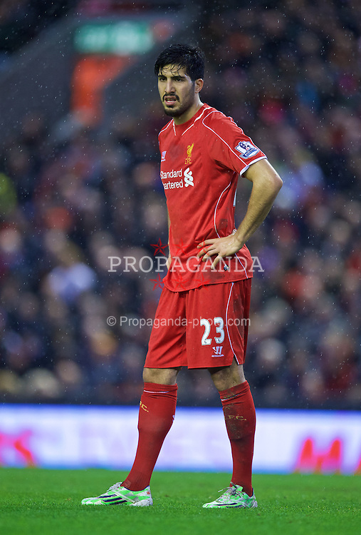 LIVERPOOL, ENGLAND - Thursday, New Year's Day, January 1, 2015: Liverpool's Emre Can in action against Leicester City during the Premier League match at Anfield. (Pic by David Rawcliffe/Propaganda)