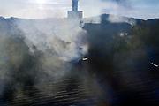 chimney smoke from wood burning