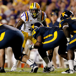Sep 25, 2010; Baton Rouge, LA, USA; LSU Tigers cornerback Patrick Peterson (7) lines up against the West Virginia Mountaineers during the first half at Tiger Stadium.  Mandatory Credit: Derick E. Hingle