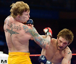 December 29, 2006 - Uncasville, CT - The Silverback's Bart Palaszewski knocks out Ryan Schultz in the second round at the Mohegan Sun in Uncasville, CT.  In the team finals the Silverbacks defeated the Wolfpack 4-1 to capture the IFL team title.