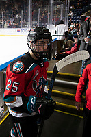 KELOWNA, BC - DECEMBER 18: Steel Quiring #25 of the Kelowna Rockets exits the ice for the dressing rooom at the end of second period against the Vancouver Giants  at Prospera Place on December 18, 2019 in Kelowna, Canada. (Photo by Marissa Baecker/Shoot the Breeze)