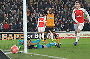 Hull City midfielder Sone Aluko (24) goes wide of the goal during the The FA Cup fifth round match between Hull City and Arsenal at the KC Stadium, Kingston upon Hull, England on 8 March 2016. Photo by Ian Lyall.