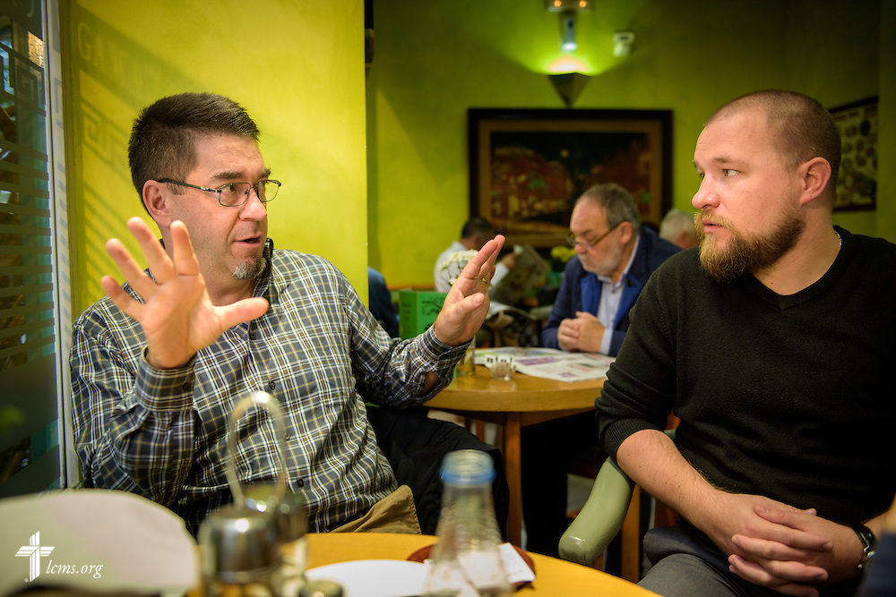 The Rev. David Warner and the Rev. Adam Lehman, LCMS career missionaries to Spain, strategize their day over breakfast in a small cafe in Valladolid on Saturday, Nov. 5, 2016, in Spain. LCMS Communications/Erik M. Lunsford