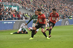 October 21, 2018 - Saint Etienne - Stade Geoffroy, France - Wahbi Khazri (saint etienne) vs Rmi Bensebaini et Clement Grenier  (Credit Image: © Panoramic via ZUMA Press)