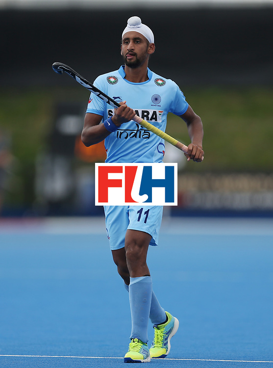 LONDON, ENGLAND - JUNE 17:  Mandeep Singh of India during the Hero Hockey World League semi final match between Canada and India at Lee Valley Hockey and Tennis Centre on June 17, 2017 in London, England.  (Photo by Alex Morton/Getty Images)