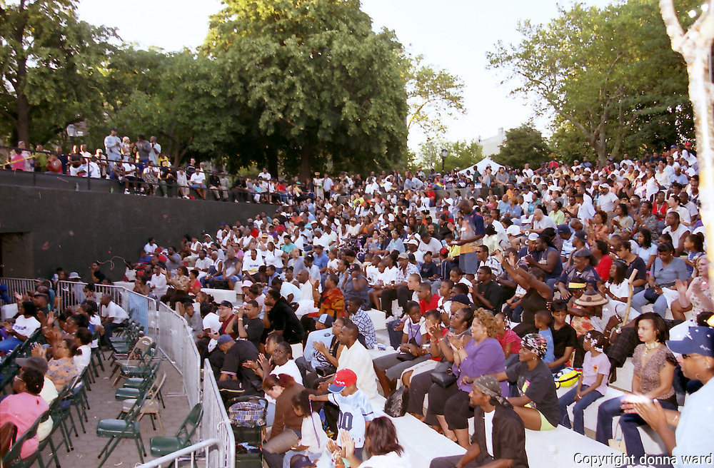 Audience during the Brothers Johnson concert at Von King Park in Brooklyn during the City Parks Music series on June 29, 2002.