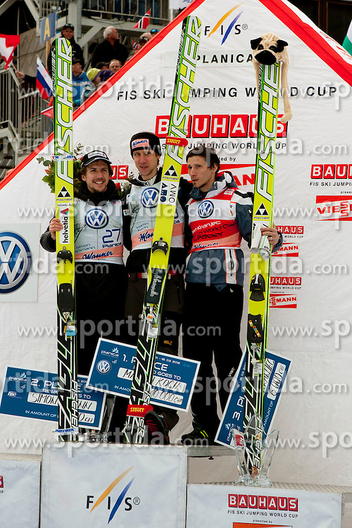 AMMANN Simon( SUI), KOCH Martin (AUT) and KRANJEC Robert (SLO) during Flying Hill Individual competition at 4th day of FIS Ski Jumping World Cup Finals Planica 2012, on March 18, 2012, Planica, Slovenia. (Photo by Urban Urbanc / Sportida.com)