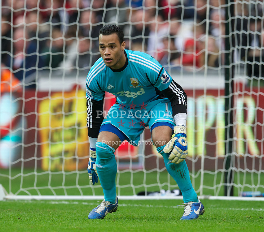 SWANSEA, WALES - Sunday, December 23, 2012: Swansea City's goalkeeper Michael Vorm in action against Manchester United during the Premiership match at the Liberty Stadium. (Pic by David Rawcliffe/Propaganda)