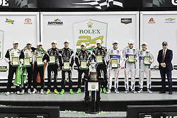 January 28, 2018 - Daytona, FLORIDE, ETATS UNIS - 5 MUSTANG SAMPLING RACING (USA) CADILLAC DPI FILIPE ALBUQUERQUE (PRT) JOAO BARBOSA (PRT) CHRISTIAN FITTIPALDI (BRA) WINNER OVERALL #67 FORD CHIP GANASSI RACING (USA) FORD GT FORD GTLM RYAN BRISCOE (AUS) RICHARD WESTBROOK (GBR) SCOTT DIXON (NZL) WINNER GTLM CLASS #11 GRT GRASSER RACING TEAM (AUT) LAMBORGHINI HURACAN GT3 LAMBORGHINI GTD ROLF INEICHEN (CHE) MIRKO BORTOLOTTI (ITA) FRANCK PERERA (FRA) RIK BREUKERS (NLD) WINNER GTD CLASS (Credit Image: © Panoramic via ZUMA Press)