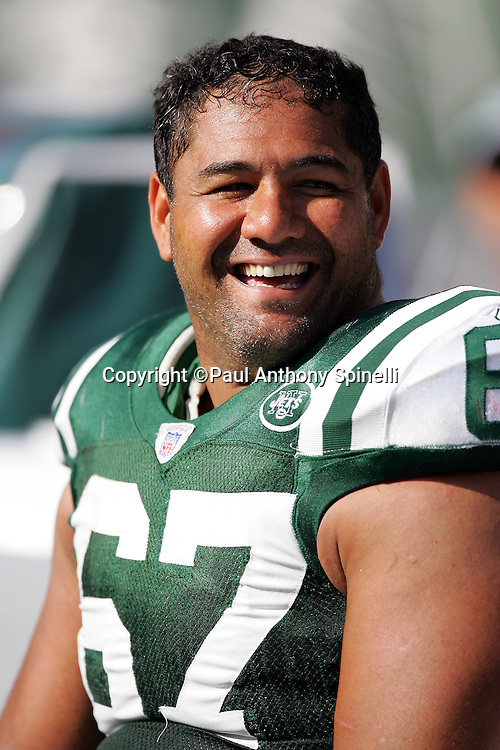 EAST RUTHERFORD, NJ - OCTOBER 1:  Kimo von Eolhoffen #67 of the New York Jets smiles on the bench against the Indianapolis Colts at the Meadowlands on October 1, 2006 in East Rutherford, New Jersey. The Colts defeated the Jets 31-28. ©Paul Anthony Spinelli *** Local Caption *** Kimo von Eolhoffen