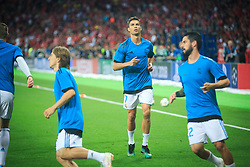 Cristiano Ronaldo of Real Madrid at warming up prior to the UEFA Champions League final football match between Liverpool and Real Madrid at the Olympic Stadium in Kiev, Ukraine on May 26, 2018.Photo by Sandi Fiser / Sportida