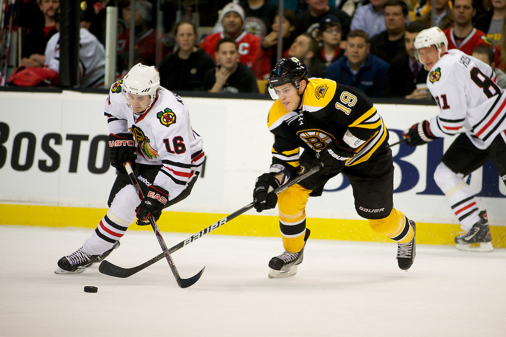 The Boston Bruins beat the Chicago Blackhawks 3-0 at the TD Bank Garden on Tuesday night March 29, 2011 in Boston, Massachusetts.