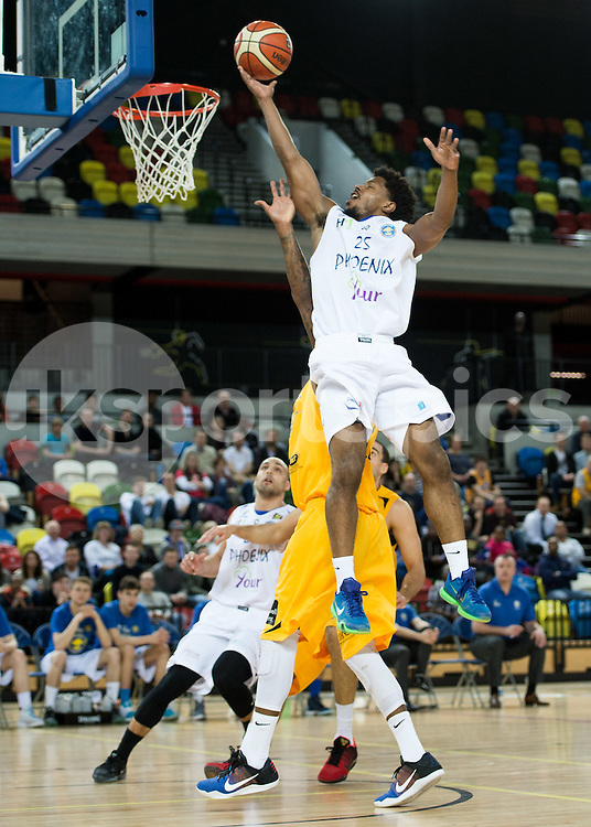 Quincy Taylor of Cheshire Phoenix in action during the BBL Championship match between London Lions and Cheshire Phoenix at the Copper Box Arena, London, United Kingdom on 30 March 2016. Photo by Vince  Mignott.