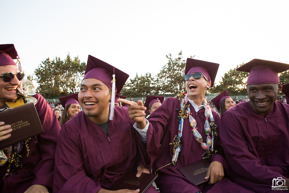 Cal Hills High School seniors celebrate during the Class of 2013 graduation at the Milpitas Sports Center in Milpitas, California, on June 6, 2013. (Stan Olszewski/SOSKIphoto)