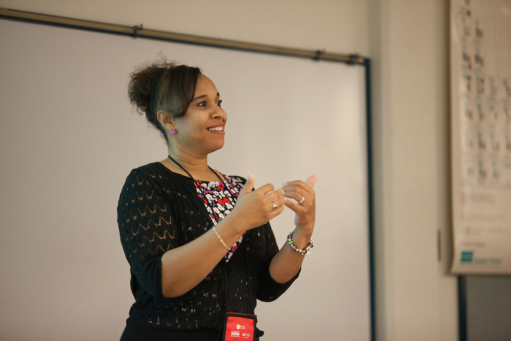 """Robin Newburn, a doctor of osteopathic medicine from Columbus, Ohio, helps give a lecture called """"Mindfulness: The Art of Being Present"""" at the 10th Annual Celebrate Women Conference at Ohio University Lancaster Campus on Friday, March 18, 2016. Photo by Kaitlin Owens"""