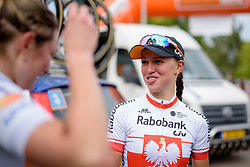 Stage winner Kasia Niewiadoma catches up with Roxane Knetemann after the stage at the 123 km Stage 3 of the Boels Ladies Tour 2016 on 1st September 2016 in Sittard Geleen, Netherlands. (Photo by Sean Robinson/Velofocus).