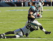 CHARLOTTE, NC - NOVEMBER 7:  Fullback Brad Hoover #45 of the Carolina Panthers scores a touchdown on a 16 yard pass play from quarterback Jake Delhomme in the third quarter against the Oakland Raiders at Bank of America Stadium on November 7, 2004 in Charlotte, North Carolina. The Raiders defeated the Panthers 27-24. ©Paul Anthony Spinelli  *** Local Caption *** Brad Hoover