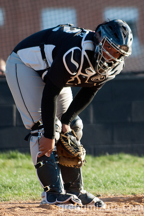 Vale catcher Christian Rodriguez during the Parma baseball game, April 15, 2014 at Parma, Idaho.