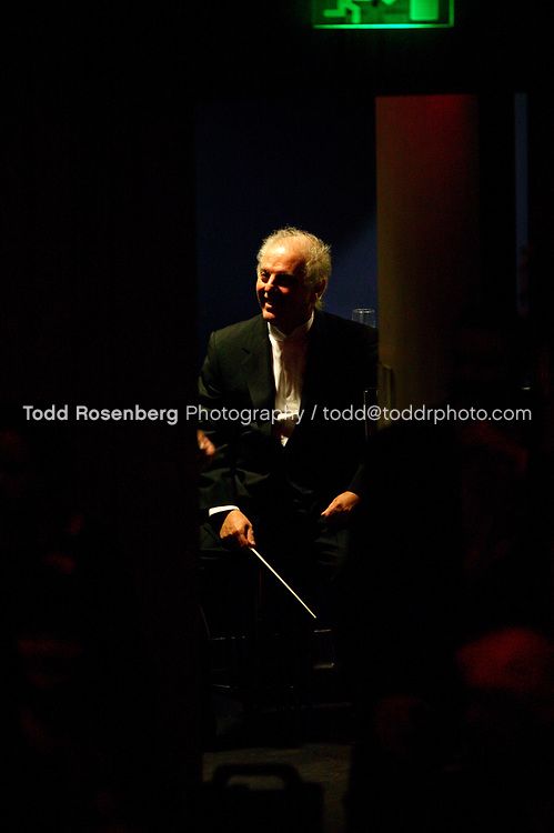 4/1/05 11:39:31 AM -Maestro Daniel Barenboim waits to go on stage in Europe during the Chicago Symphony Orchestra's tour  © Todd Rosenberg Photography