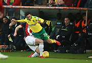 Norwich City's Jamal Lewis and Sheffield United's Ryan Leonard during the EFL Sky Bet Championship match between Norwich City and Sheffield Utd at Carrow Road, Norwich, England on 20 January 2018. Photo by John Marsh.