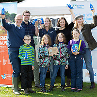 """FREE TO USE PHOTOPGRAPH…Deputy First Minister John Swinney MSP presenting the award for the first water efficient village in Scotland to Dunkeld & Birnam, pictured from left, John Swinney, James Irvine Manager of Birnam Arts, Elaine Hutchison, Jess Pepper and Katrina MacDonald and front row from left, Dougie, twins Daisy (left) and Skye MacDonald and Ruby<br />Images to accompany Scottish Water press release: """"Scotland's First Water Efficient Village"""".<br />Contact: Gavin Steel, Scottish Water Regional Manager (North) on 07484 517674, or email gavin.steel@scottishwater.co.uk<br />Picture by Graeme Hart.<br />Copyright Perthshire Picture Agency<br />Tel: 01738 623350  Mobile: 07990 594431"""