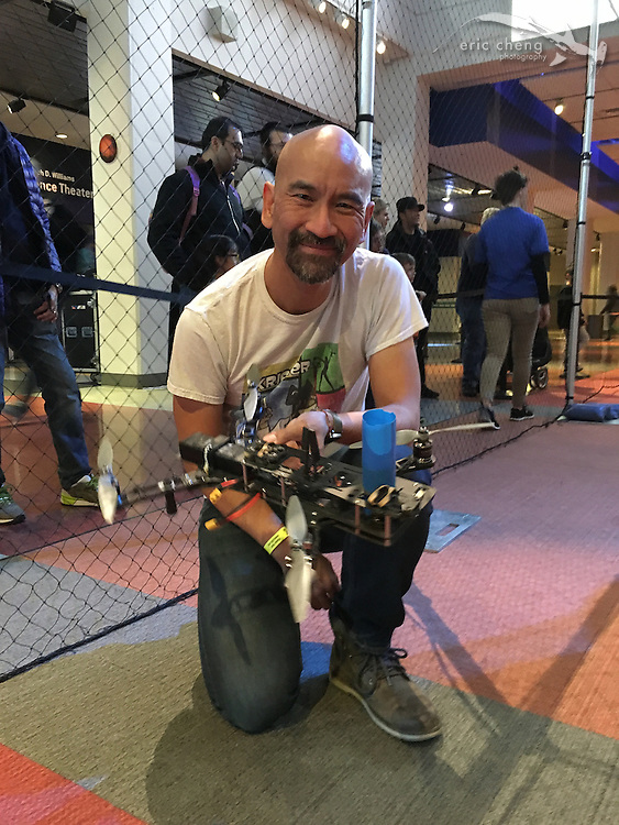 Andy Shen with The Blast FPV quadcopter (his design). Day of Drones at Liberty Science Center. New York City Drone Film Festival 2016.