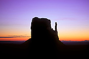 Mitten Butte at dawn, Monument Valley Navajo Tribal Park, Arizona