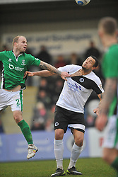 DAVID STEPHENS  BOREHAM WOOD BATTLES WITH LINCOLN BRADLEY WOOD, Boreham Wood FC v Lincoln City, Buildbase  FA Trophy Quarter Final Meadow Park, Saturday 25th February 2017<br /> Score 0-2: Photo:Mike Capps