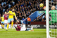 Joe Ledley of Crystal Palace (left) watches his shot beat Brad Guzan of Aston Villa (right)  but miss the target during the Barclays Premier League match at Villa Park, Birmingham<br /> Picture by Andy Kearns/Focus Images Ltd 0781 864 4264<br /> 01/01/2015