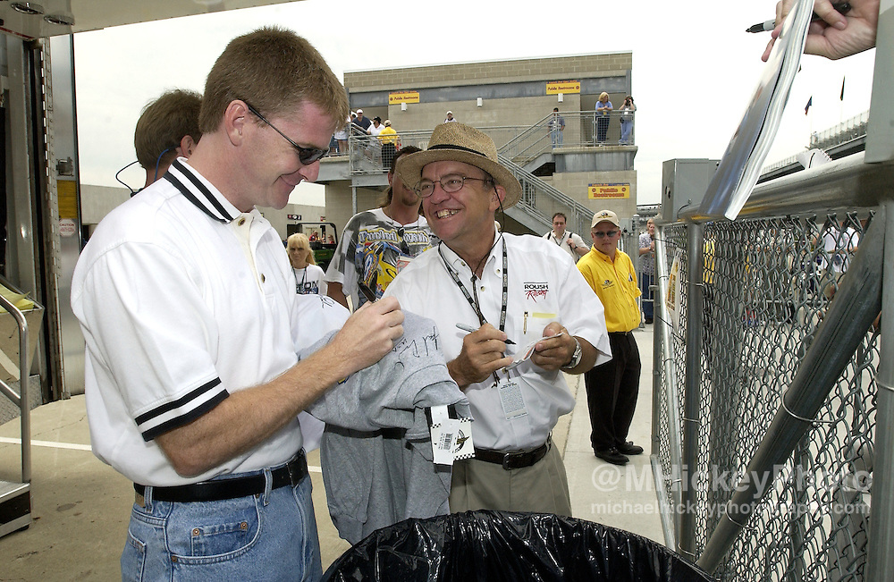 Jeff Burton and Jack Roush seen at the Indianapolis Motor Speedway before the Brickyard 400.