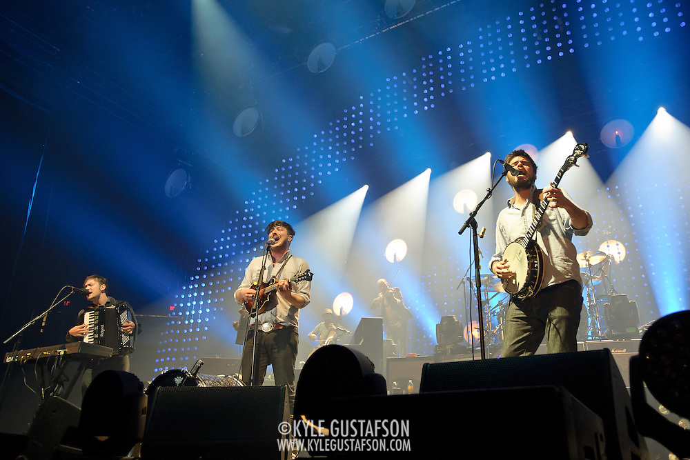 FAIRFAX, VA - February 13th,  2013 - Fresh off their Grammy win for 2013 Album of the Year, Ben Lovett, Marcus Mumford and Winston Marshall of British folk outfit Mumford & Sons begin a two night stand at the Patriot Center in Fairfax, VA. Babel, the band's sophomore album, debuted at number one in both the UK and US album charts.(Photo by Kyle Gustafson/For The Washington Post)