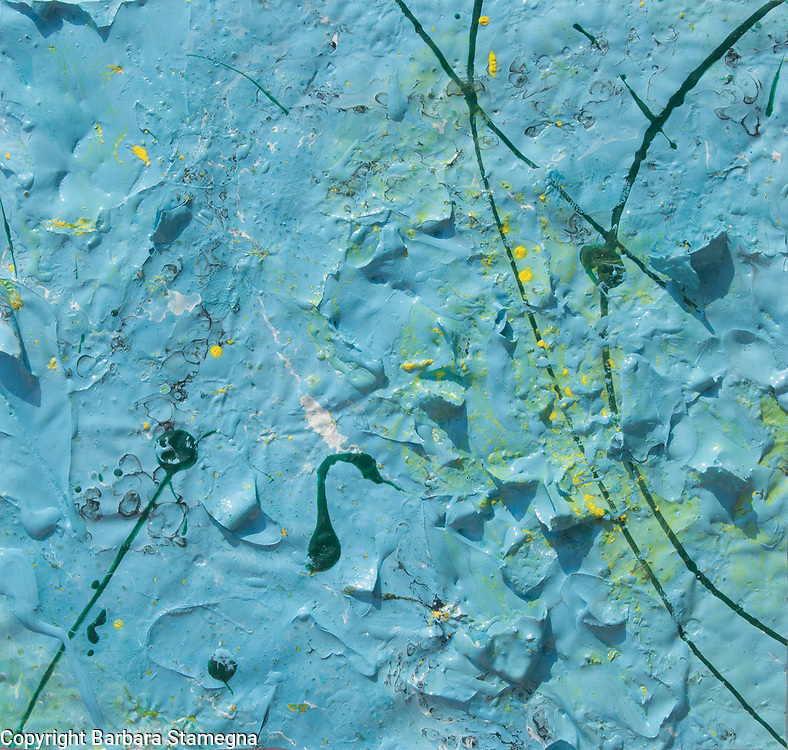 abstract blue painting rough texture with dark lines,spots and yellow shades