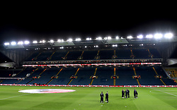 A general view of Derby County players inspecting the pitch prior to the Sky Bet Championship match at Elland Road, Leeds.