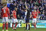 Walsall FC midfielder Adam Chambers receives a yellow card during the The FA Cup fourth round match between Reading and Walsall at the Madejski Stadium, Reading, England on 30 January 2016. Photo by Mark Davies.