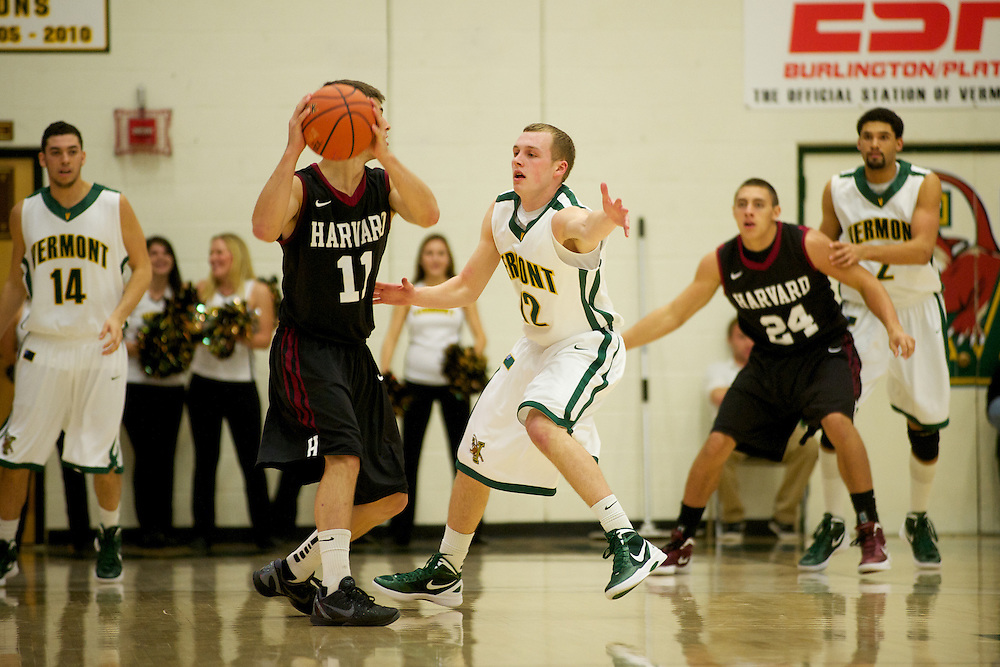 The men's baskeball game between the Harvard Crimson and the Vermont Catamounts at Patrick Gymnasium on Thursday night December 1, 2011 in Burlington, Vermont.