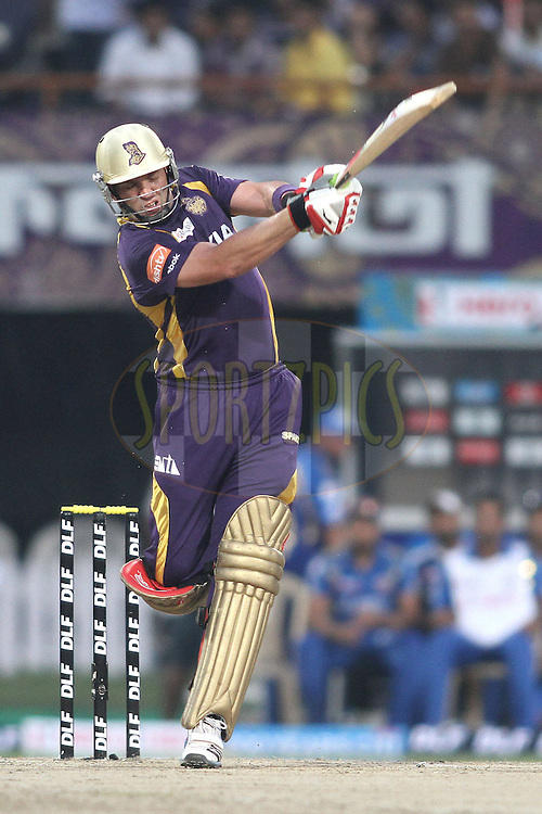 Jacques Kallis of the Kolkata Knight Riders plays a delivery through the legside during match 58 of the the Indian Premier League (IPL) 2012  between The Kolkata Knight Riders and The Mumbai Indians held at the Eden Gardens Stadium in Kolkata on the 12th May 2012..Photo by Shaun Roy/IPL/SPORTZPICS