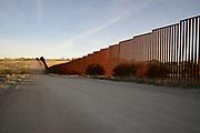 The border wall between Sasabe, Sonora, Mexico, and Sasabe, Arizona, USA, as seen from Arizona.
