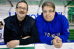Jani Aljancic and Diko Stevic at first practice of Slovenian National Ice hockey team before World championship of Division I - group B in Ljubljana, on April 5, 2010, in Hala Tivoli, Ljubljana, Slovenia.  (Photo by Vid Ponikvar / Sportida)