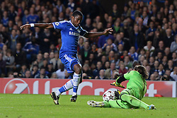 LONDON, ENGLAND - September 18: Basel's Yann Sommer dives at the feet of Chelsea's Samuel Eto'o  during the UEFA Champions League Group E match between Chelsea from England and Basel from Switzerland played at Stamford Bridge, on September 18, 2013 in London, England. (Photo by Mitchell Gunn/ESPA)