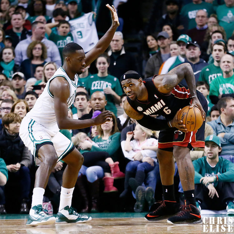 27 January 2013: Boston Celtics power forward Jeff Green (8) defends on Miami Heat small forward LeBron James (6) during the Boston Celtics 100-98  2OT victory over the Miami Heat at the TD Garden, Boston, Massachusetts, USA.